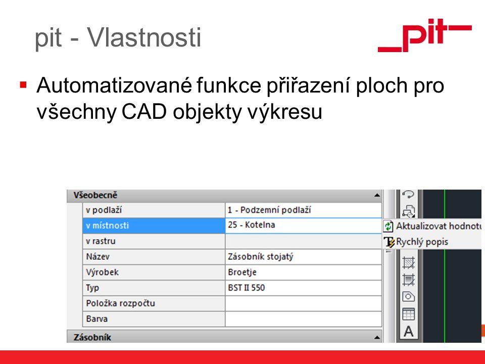 pit - Vlastnosti Automatizované funkce přiřazení ploch pro všechny CAD objekty výkresu