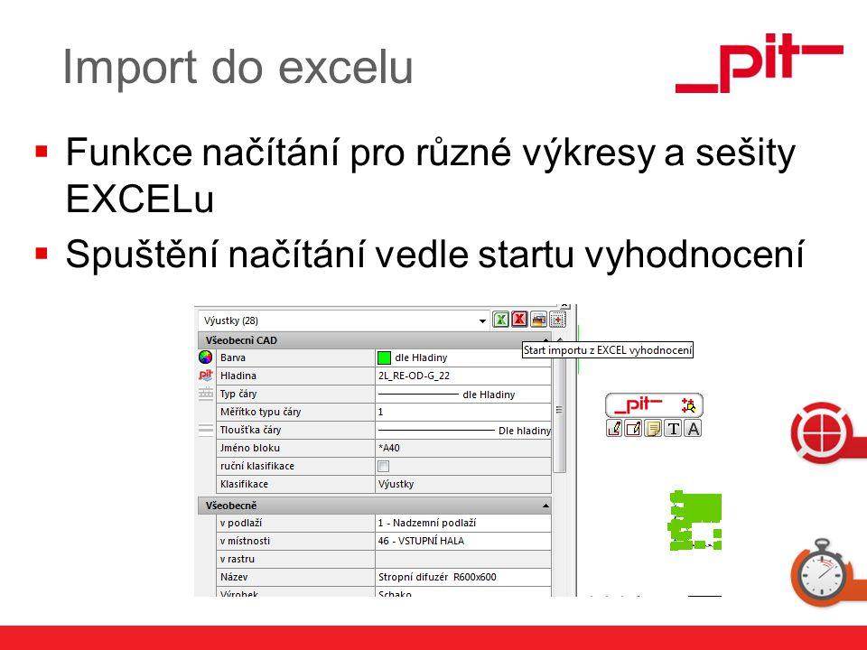 Import do excelu Funkce načítání pro různé výkresy a sešity EXCELu
