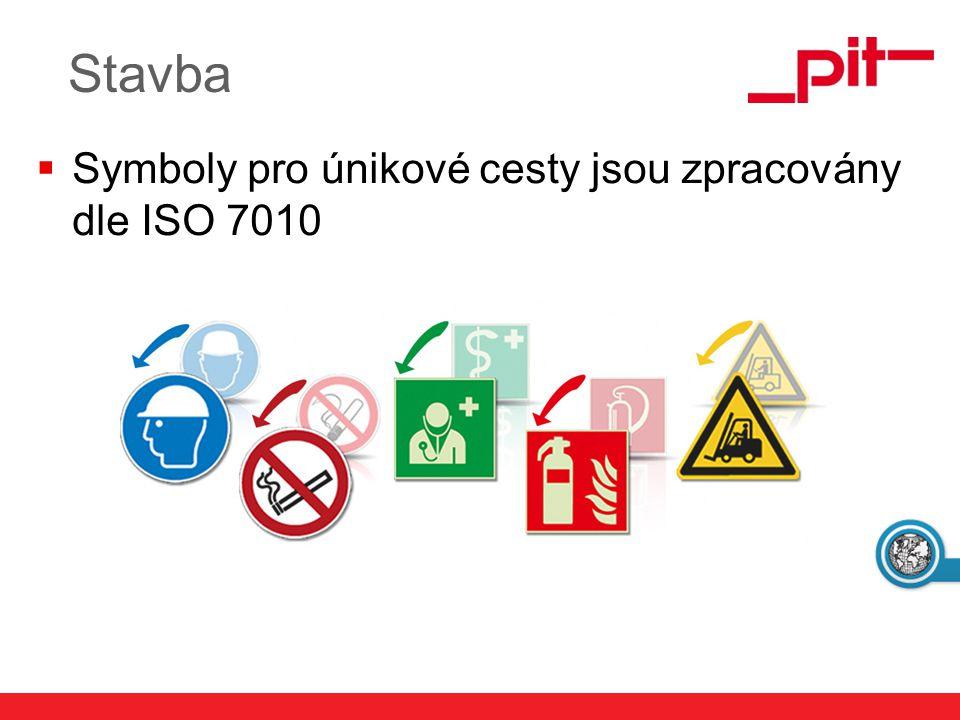 Stavba Symboly pro únikové cesty jsou zpracovány dle ISO 7010