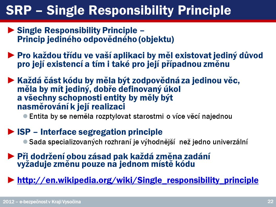SRP – Single Responsibility Principle