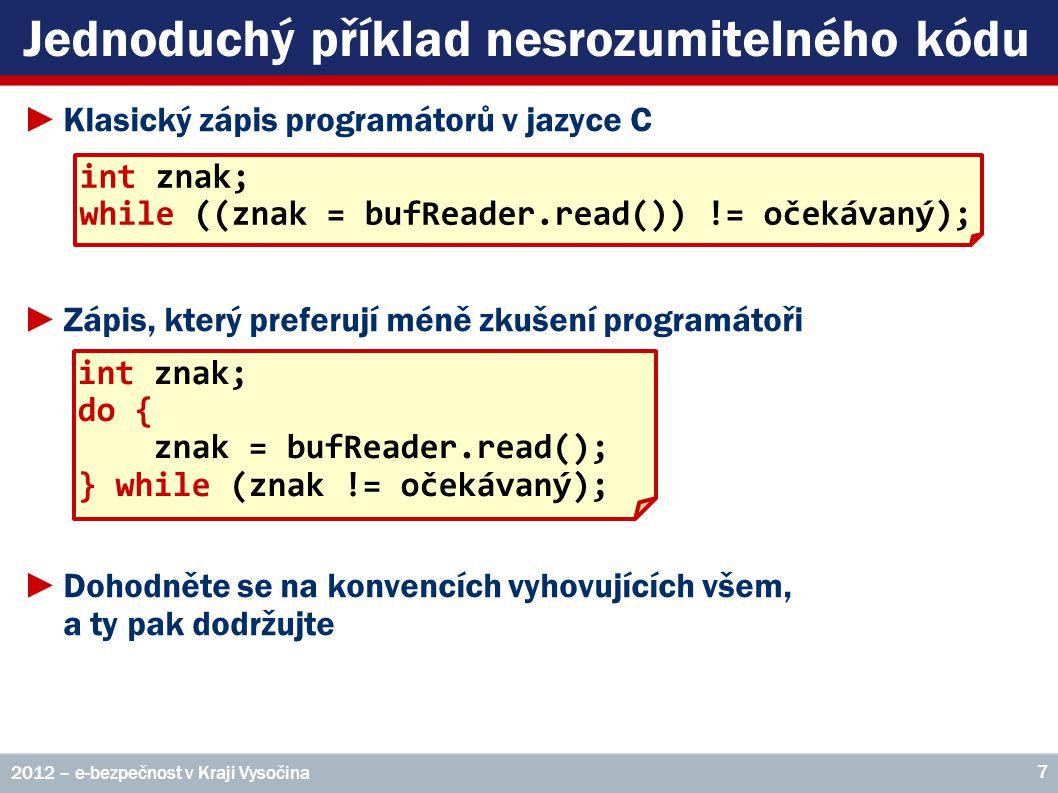 Jednoduchý příklad nesrozumitelného kódu