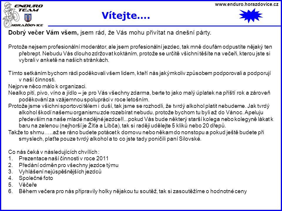 www.enduro.horazdovice.cz Vítejte…. Dobrý večer Vám všem, jsem rád, že Vás mohu přivítat na dnešní párty.