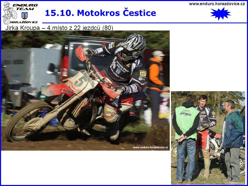 15.10. Motokros Čestice Jirka Kroupa – 4.místo z 22 jezdců (80)