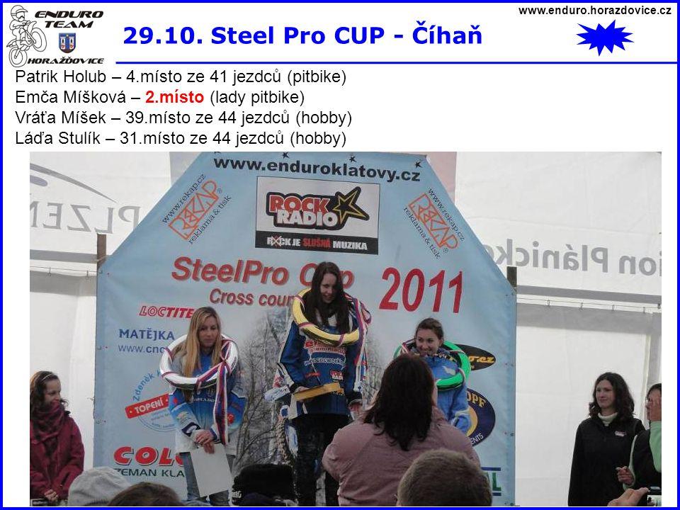 www.enduro.horazdovice.cz 29.10. Steel Pro CUP - Číhaň. Patrik Holub – 4.místo ze 41 jezdců (pitbike)