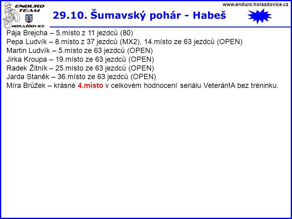 29.10. Šumavský pohár - Habeš Pája Brejcha – 5.místo z 11 jezdců (80)