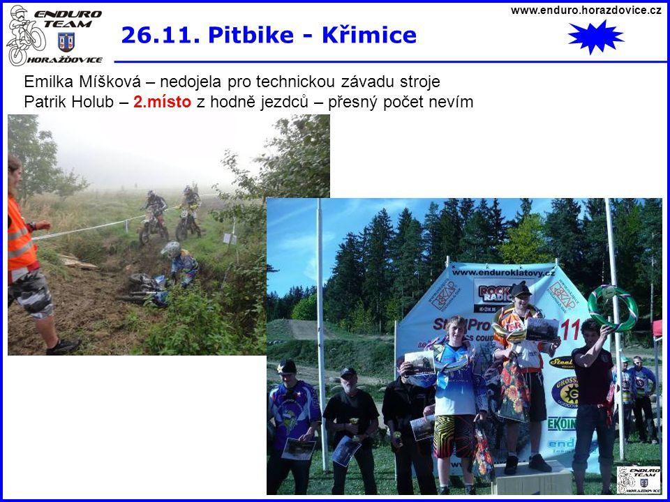 www.enduro.horazdovice.cz 26.11. Pitbike - Křimice. Emilka Míšková – nedojela pro technickou závadu stroje.