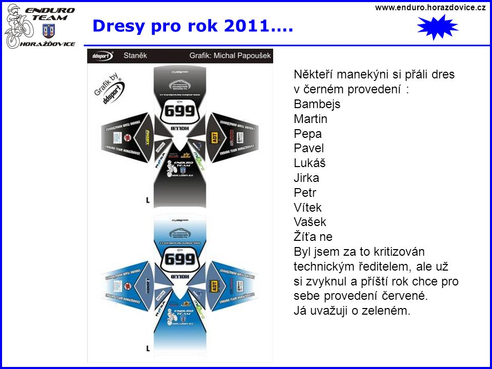 Dresy pro rok 2011…. Někteří manekýni si přáli dres