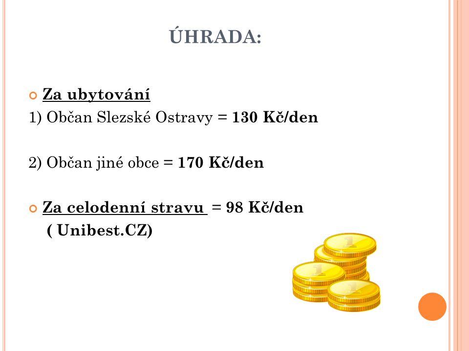 ÚHRADA: Za ubytování 1) Občan Slezské Ostravy = 130 Kč/den