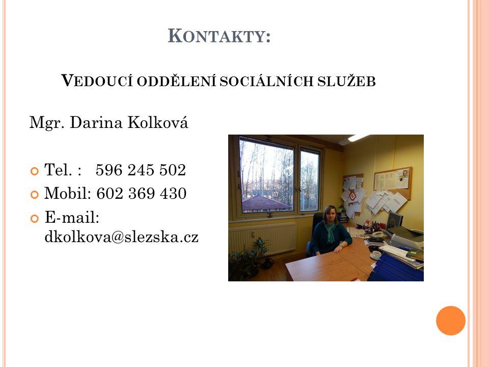 Kontakty: Vedoucí oddělení sociálních služeb
