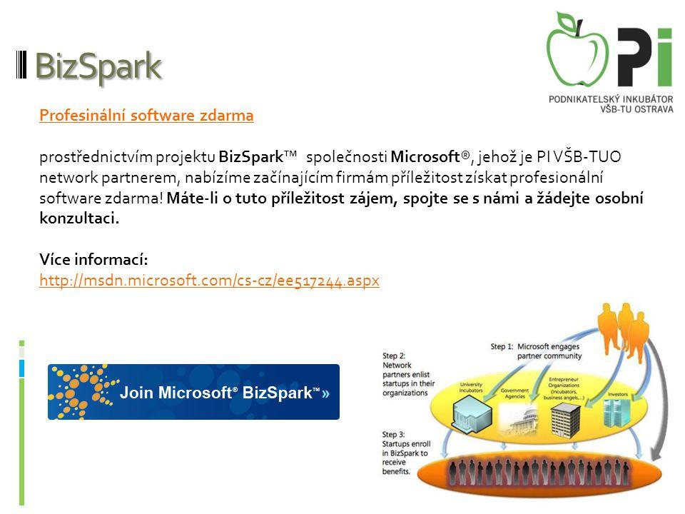 BizSpark Profesinální software zdarma