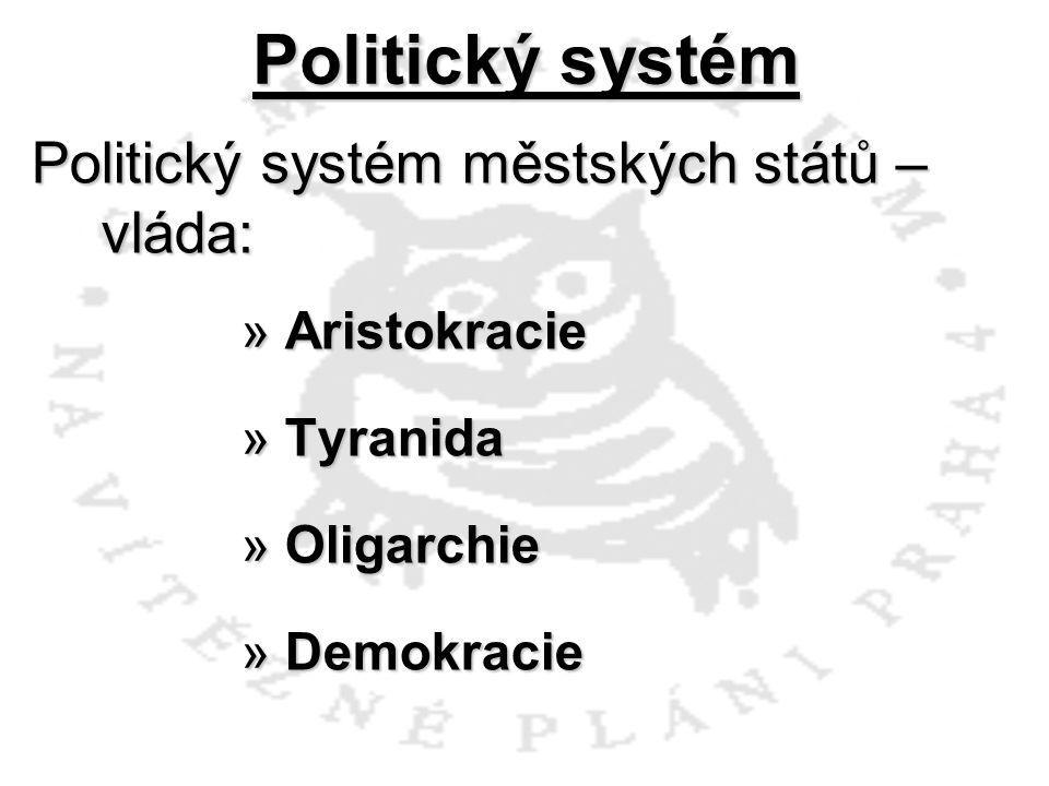 Politický systém Politický systém městských států – vláda: