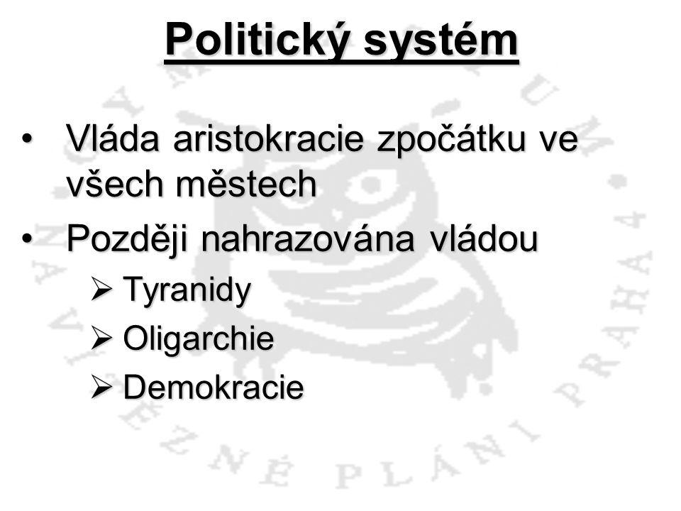 Politický systém Vláda aristokracie zpočátku ve všech městech