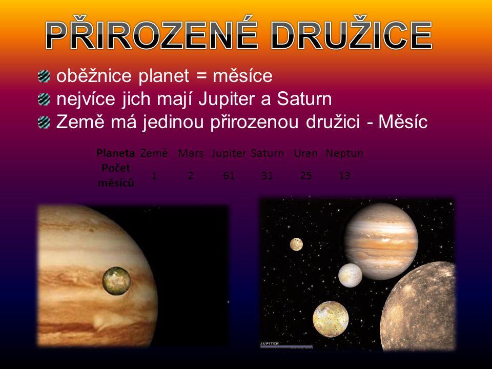 PŘIROZENÉ DRUŽICE oběžnice planet = měsíce