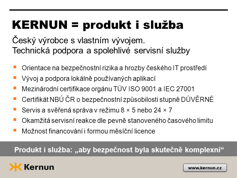 KERNUN = produkt i služba
