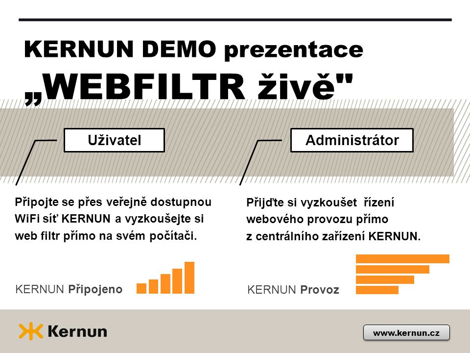 """WEBFILTR živě KERNUN DEMO prezentace Uživatel Administrátor"