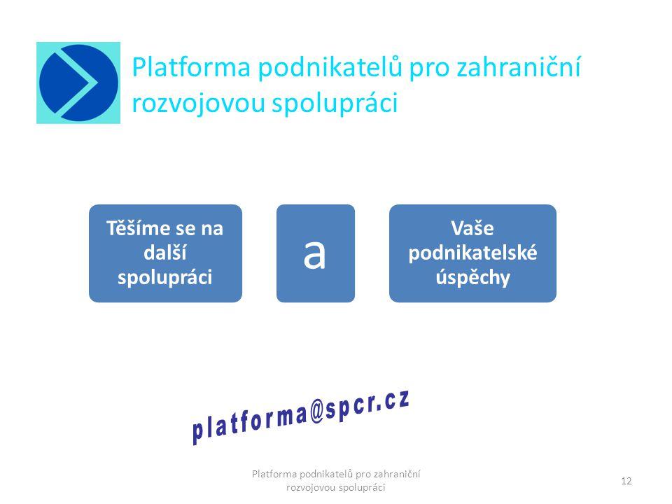Těšíme se na další spolupráci Vaše podnikatelské úspěchy