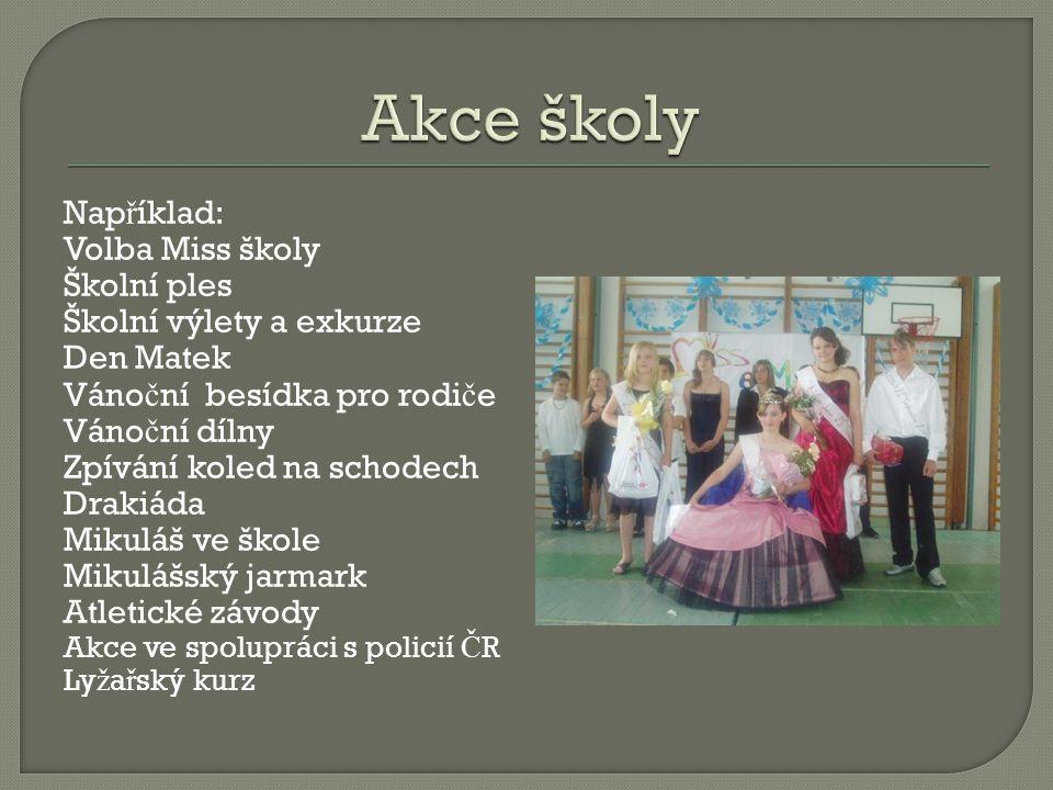 Akce školy Například: Volba Miss školy Školní ples