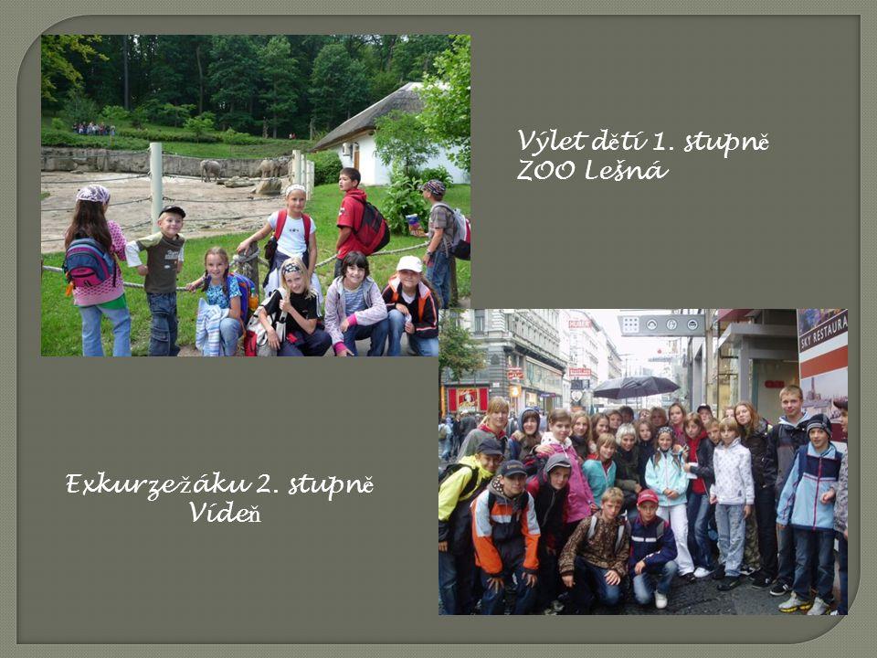 Výlet dětí 1. stupně ZOO Lešná Exkurze žáku 2. stupně Vídeň