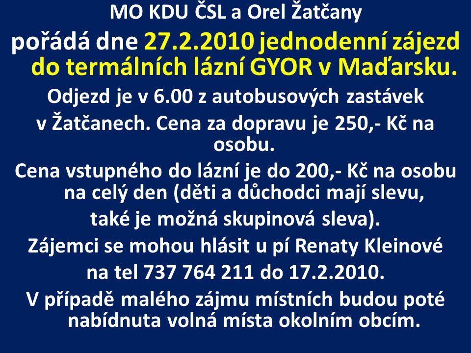 MO KDU ČSL a Orel Žatčany