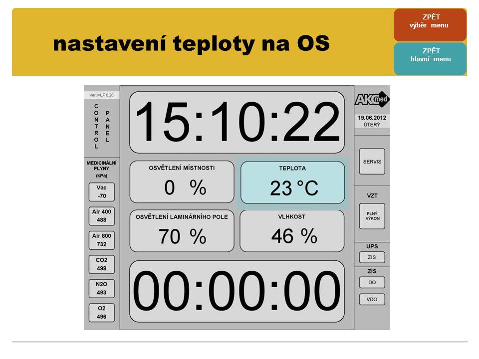nastavení teploty na OS