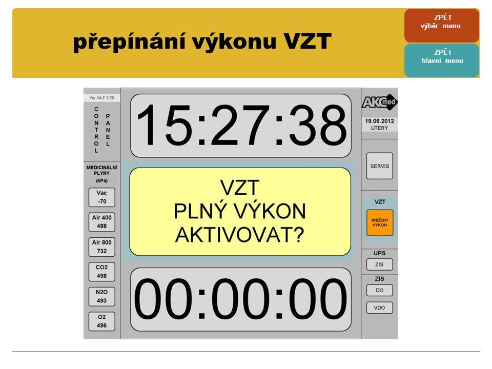 ZPÉT výběr menu přepínání výkonu VZT ZPĚT hlavní menu
