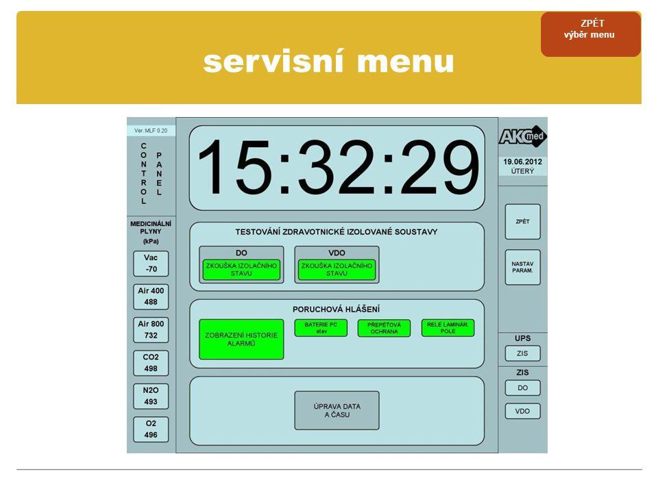 ZPÉT výběr menu servisní menu