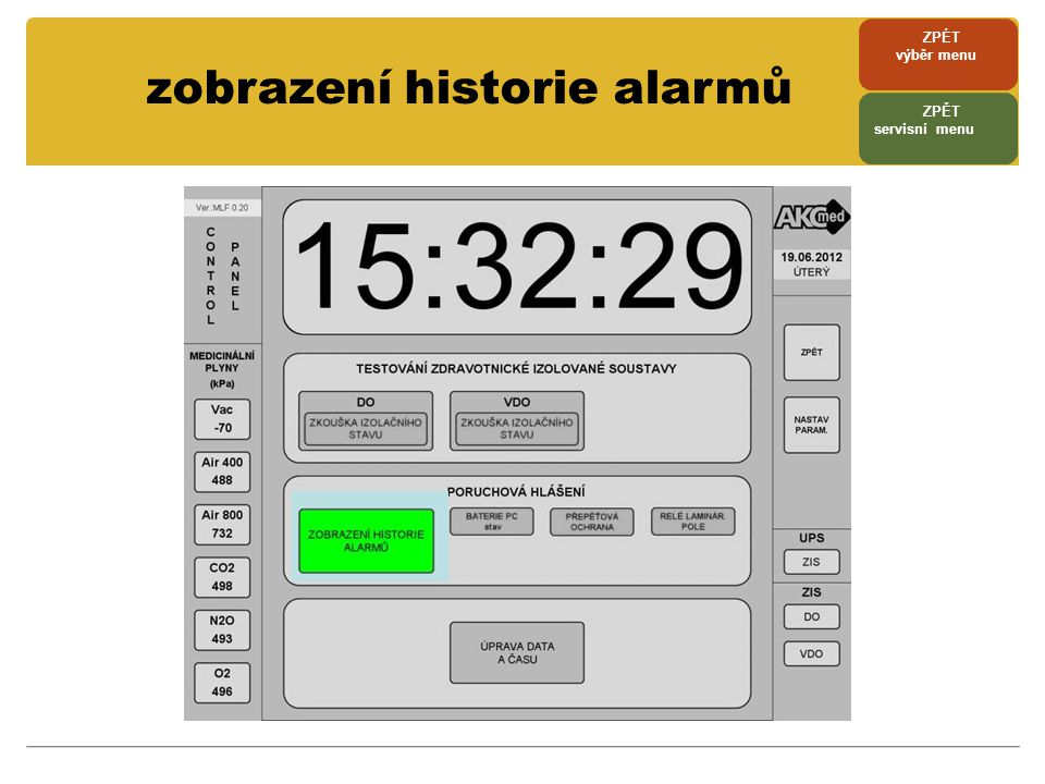 zobrazení historie alarmů