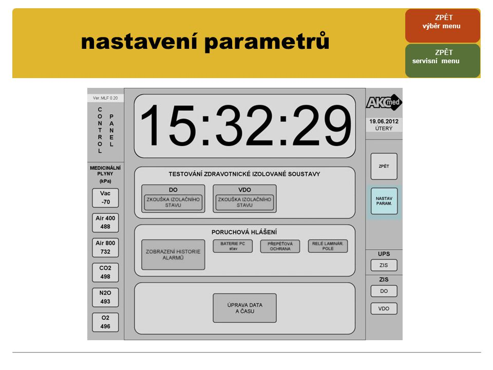 ZPÉT výběr menu nastavení parametrů ZPĚT servisní menu