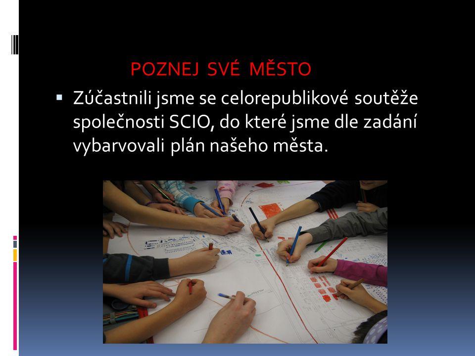 POZNEJ SVÉ MĚSTO Zúčastnili jsme se celorepublikové soutěže společnosti SCIO, do které jsme dle zadání vybarvovali plán našeho města.