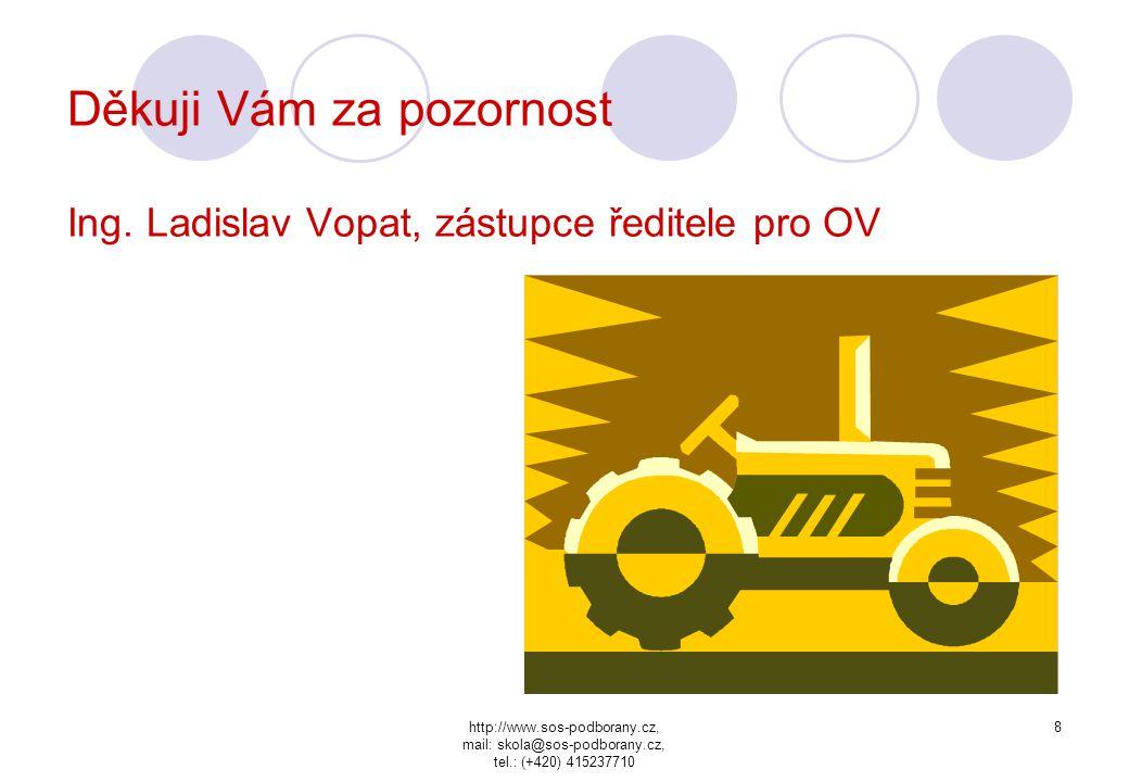 Děkuji Vám za pozornost Ing. Ladislav Vopat, zástupce ředitele pro OV
