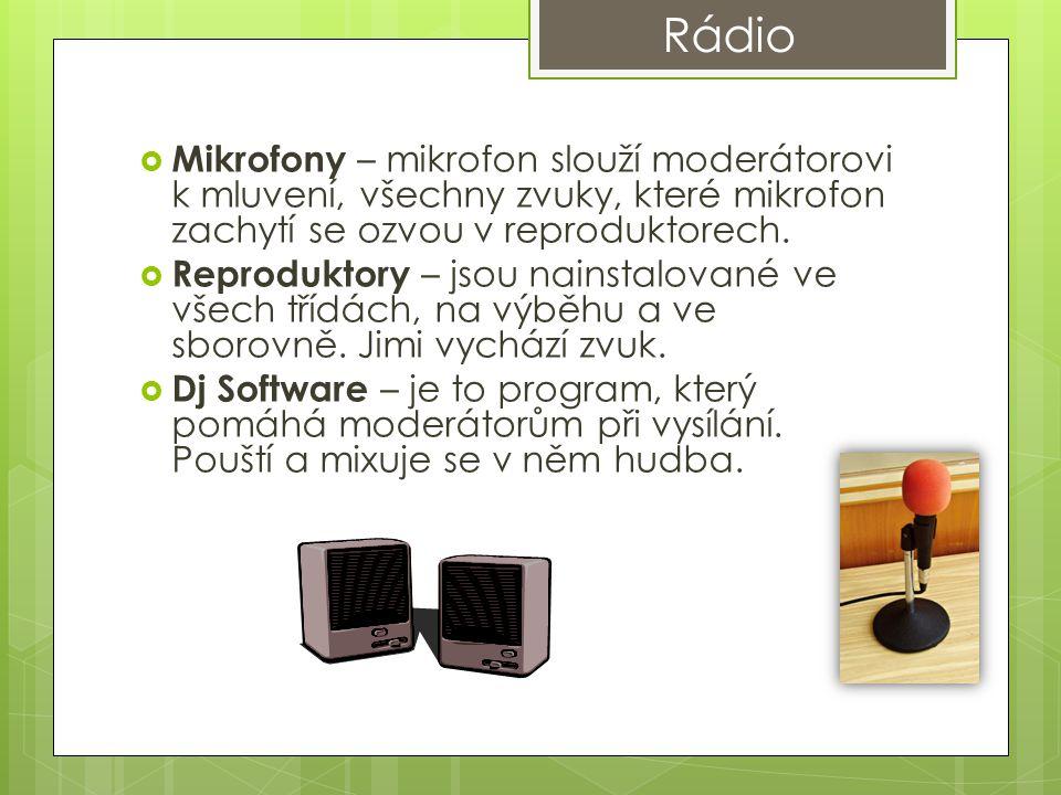 Rádio Mikrofony – mikrofon slouží moderátorovi k mluvení, všechny zvuky, které mikrofon zachytí se ozvou v reproduktorech.