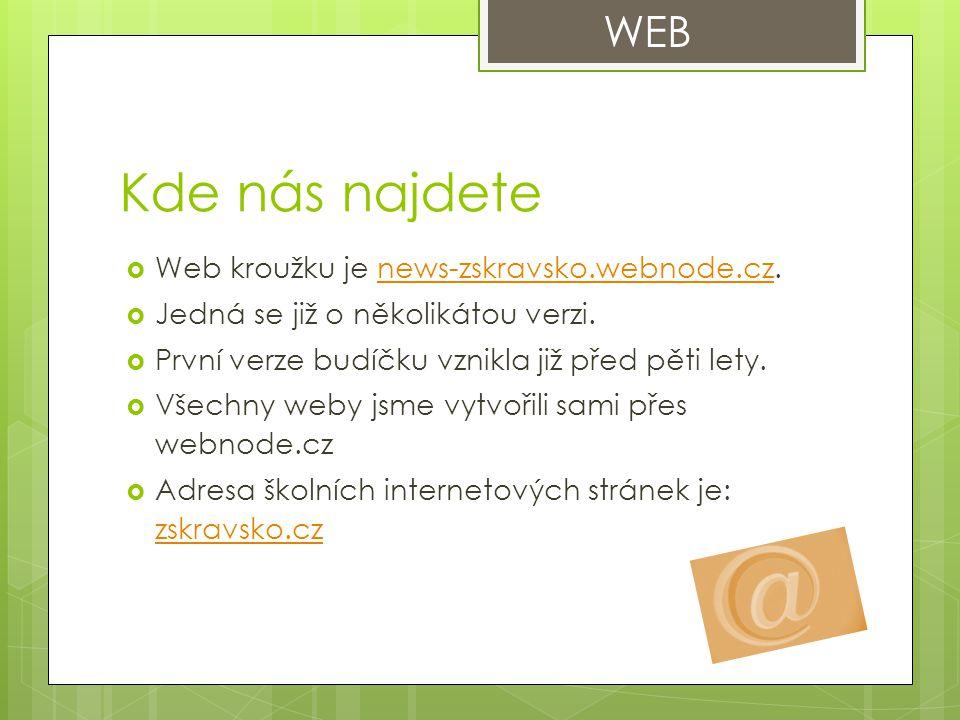 Kde nás najdete WEB Web kroužku je news-zskravsko.webnode.cz.