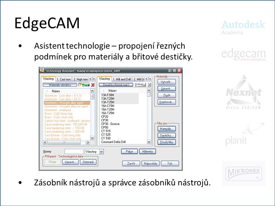 EdgeCAM Asistent technologie – propojení řezných podmínek pro materiály a břitové destičky.