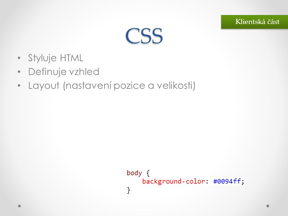 CSS Styluje HTML Definuje vzhled Layout (nastavení pozice a velikosti)
