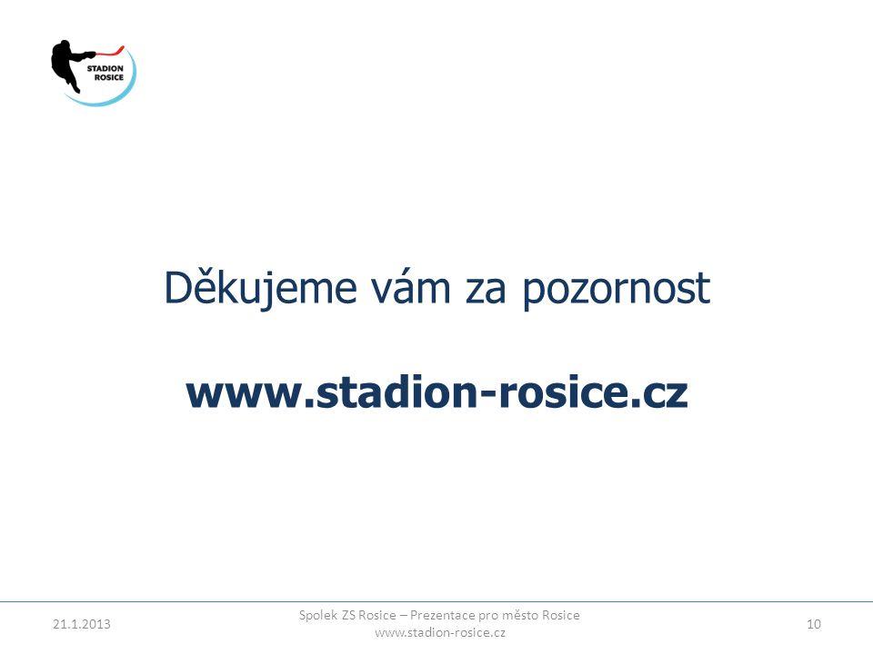 Děkujeme vám za pozornost www.stadion-rosice.cz