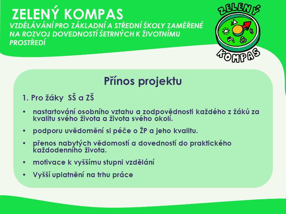 ZELENÝ KOMPAS Přínos projektu 1. Pro žáky SŠ a ZŠ