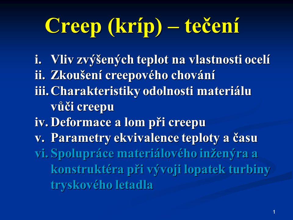 Creep (kríp) – tečení Vliv zvýšených teplot na vlastnosti ocelí