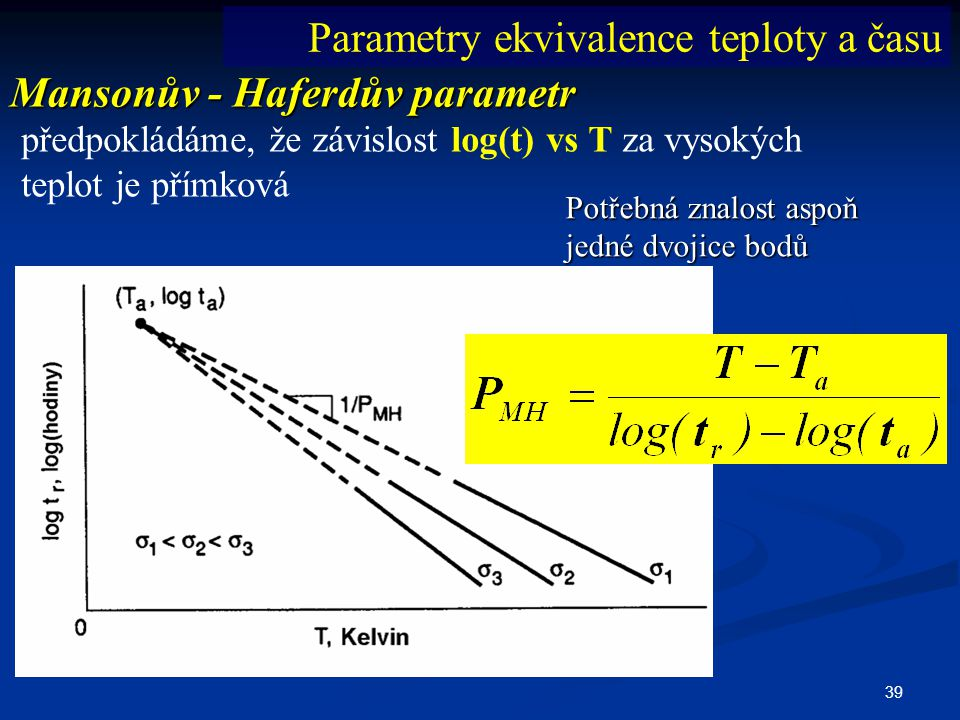 Parametry ekvivalence teploty a času Mansonův - Haferdův parametr