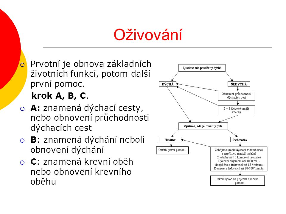 Oživování Prvotní je obnova základních životních funkcí, potom další první pomoc. krok A, B, C.