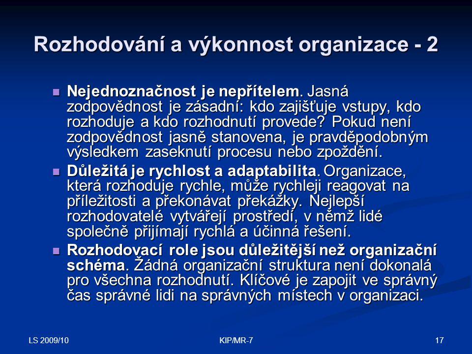 Rozhodování a výkonnost organizace - 2