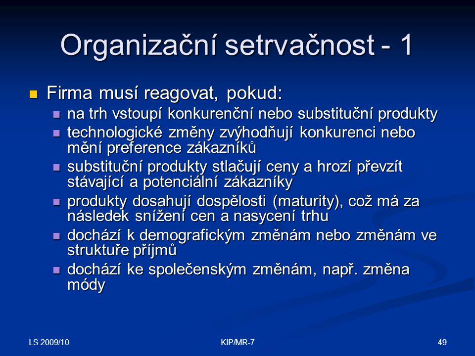 Organizační setrvačnost - 1
