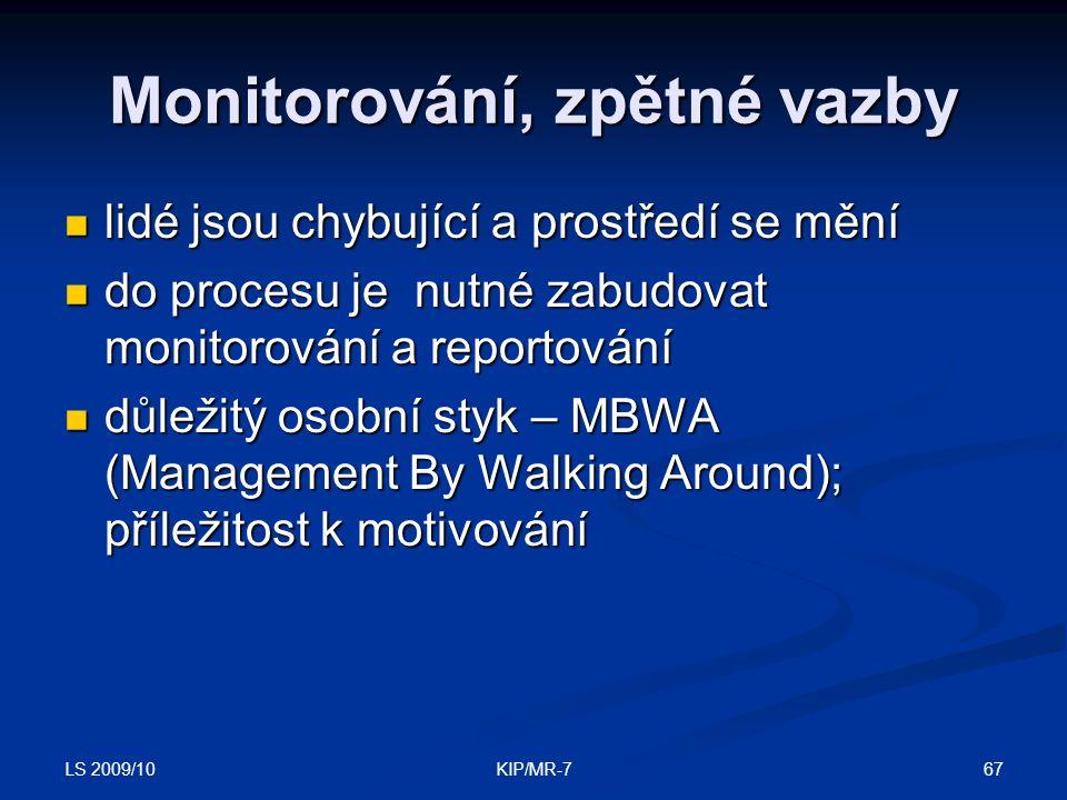 Monitorování, zpětné vazby