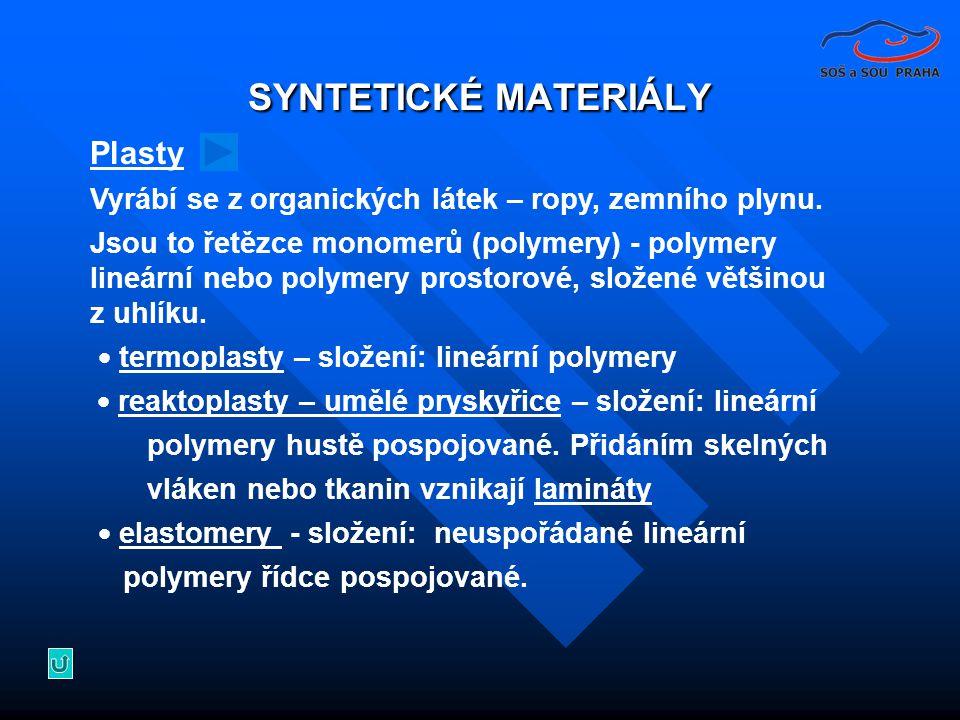 SYNTETICKÉ MATERIÁLY Plasty