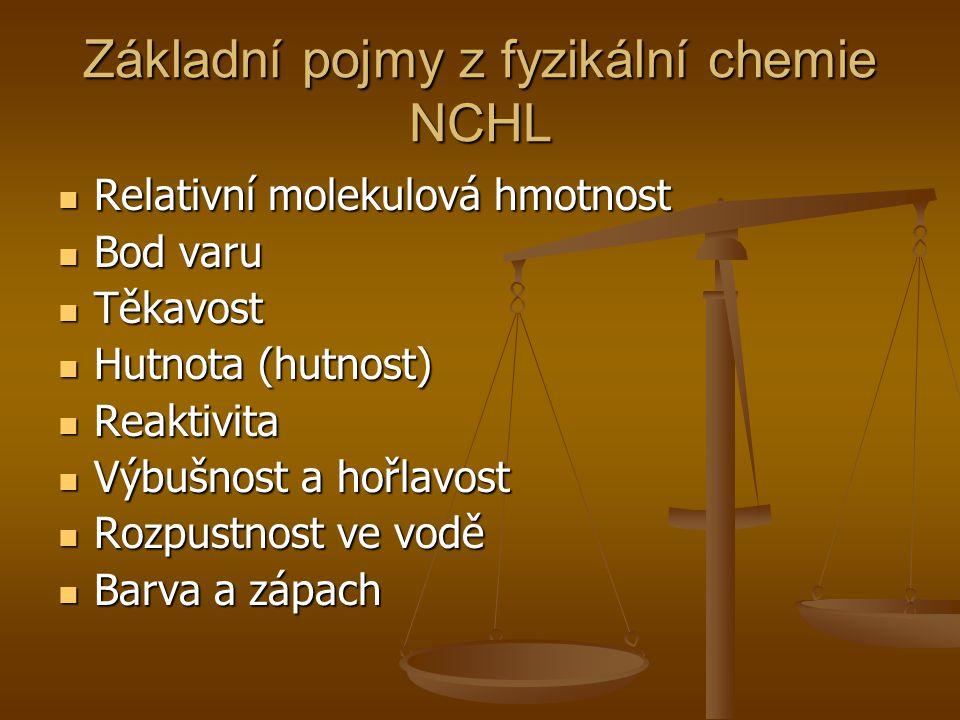 Základní pojmy z fyzikální chemie NCHL