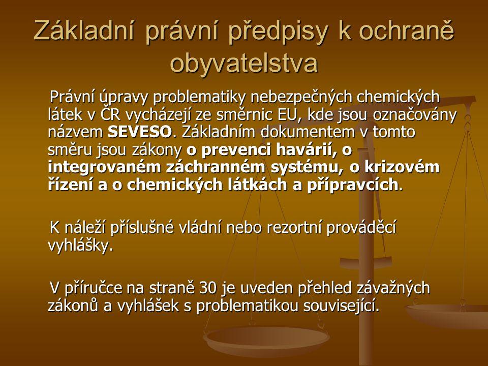 Základní právní předpisy k ochraně obyvatelstva