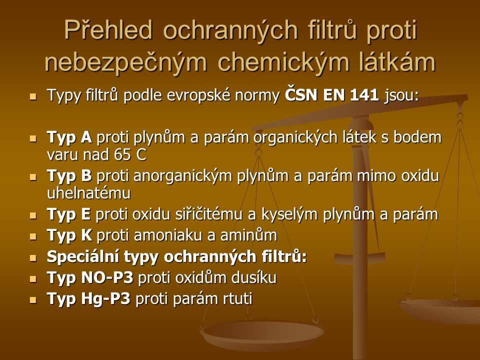 Přehled ochranných filtrů proti nebezpečným chemickým látkám
