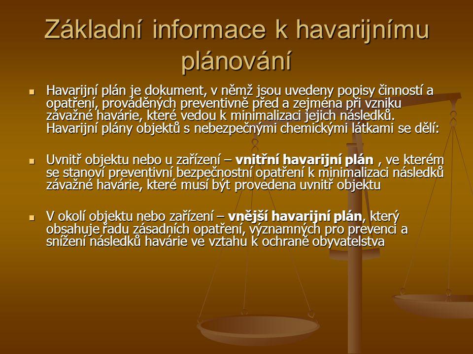Základní informace k havarijnímu plánování