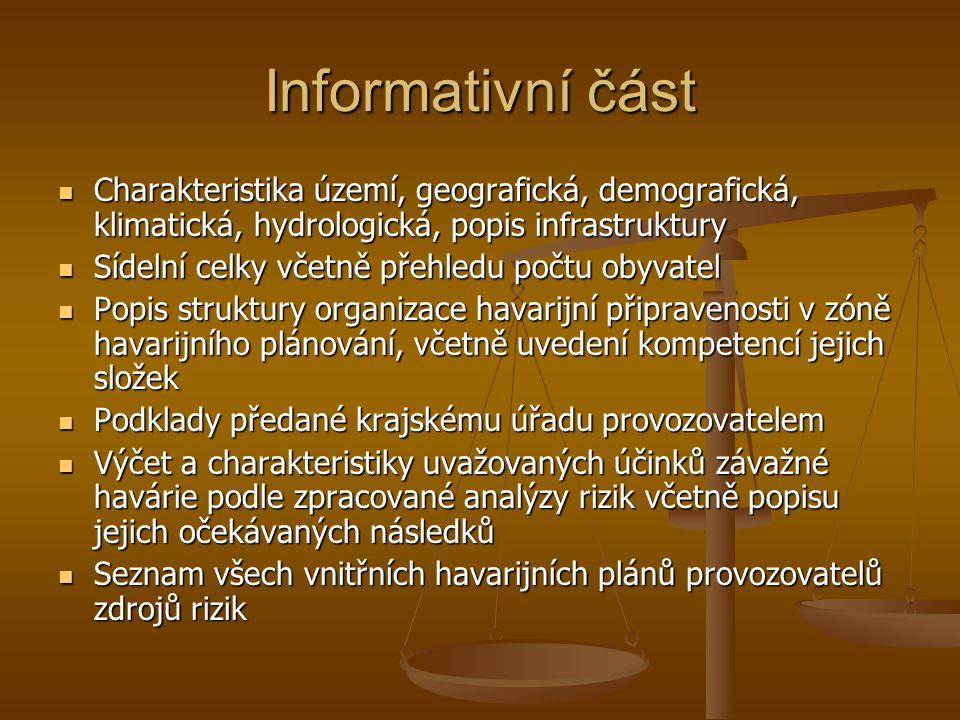 Informativní část Charakteristika území, geografická, demografická, klimatická, hydrologická, popis infrastruktury.