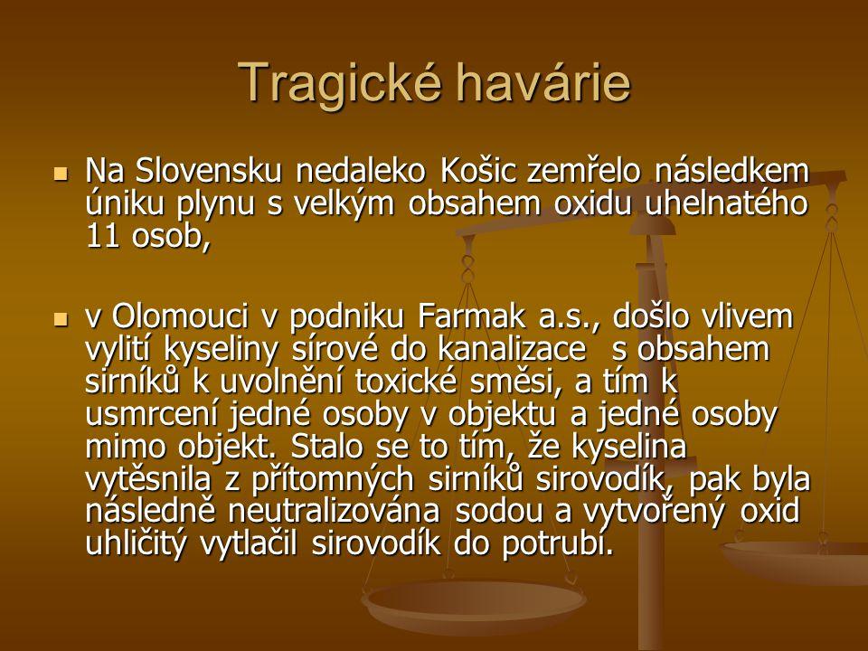 Tragické havárie Na Slovensku nedaleko Košic zemřelo následkem úniku plynu s velkým obsahem oxidu uhelnatého 11 osob,
