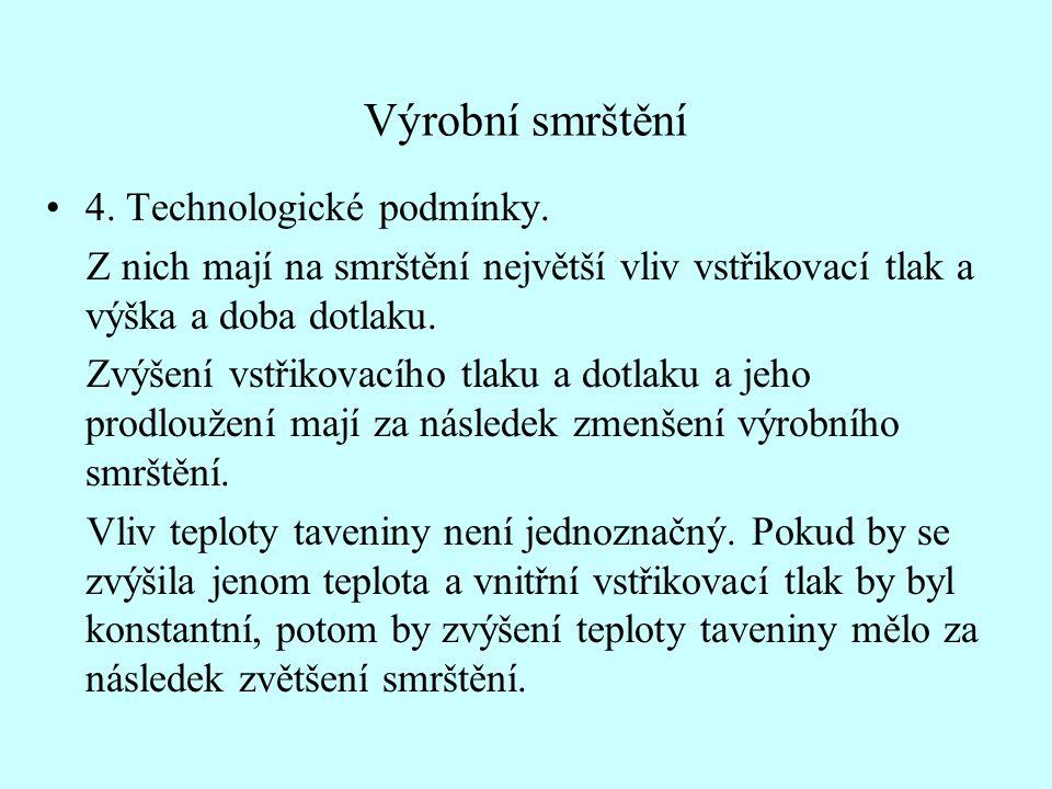 Výrobní smrštění 4. Technologické podmínky.